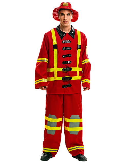 Man's Fireman in Action Costume