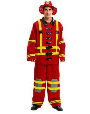 Fato de bombeiro em ação para homem