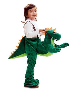 Disfarces às costas de dinossauro para criança