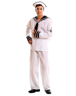 Hvit Sjømann Kostyme for Menn