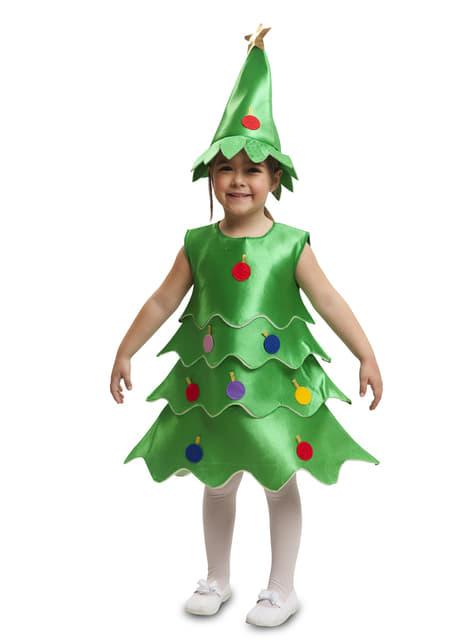 Fato de árvore de Natal alegre para menina