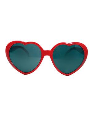 Óculos de coração vermelho para adulto