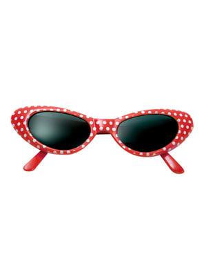 Óculos anos 50 às bolinhas vermelhas para adulto