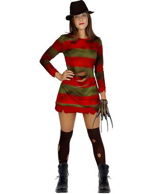 Freddy Krueger Maskeraddräkt för henne stor storlek - Terror på Elm Street