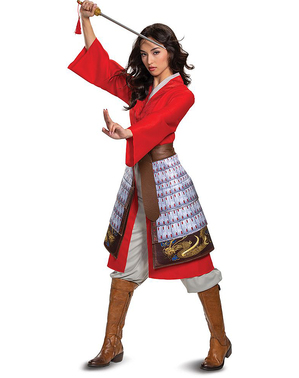 Rødt Mulan Kostume