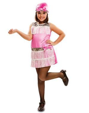 Fato de Charleston cor-de-rosa para menina
