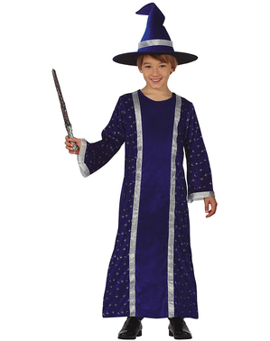 Fato de mago azul para menino