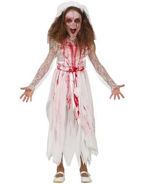Disfraz de novia zombie sangrienta para niña