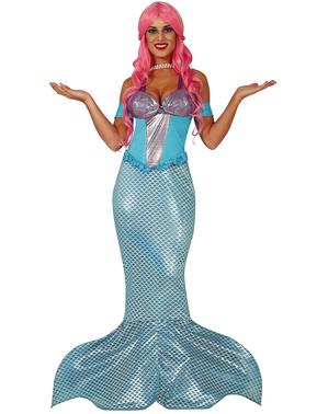 Blåt Havfrue Kostume til Kvinder