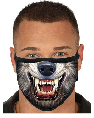 Wolf Mund-Nasen-Maske für Erwachsene