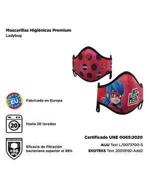 Mascherina Ladybug per adulto (2 unità)