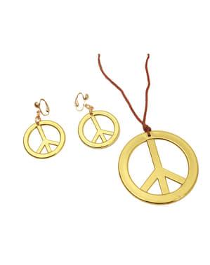Pingente e brincos hippies dourados para mulher