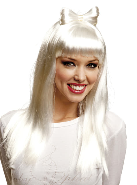 Peluca blanca larga con flequillo para mujer