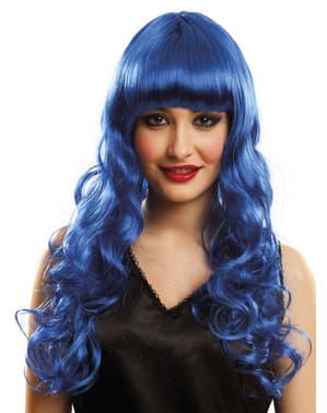 Lange blaue Perücke für Damen