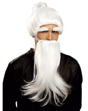 Peluca con barba blanca de Du Man Chu para hombre