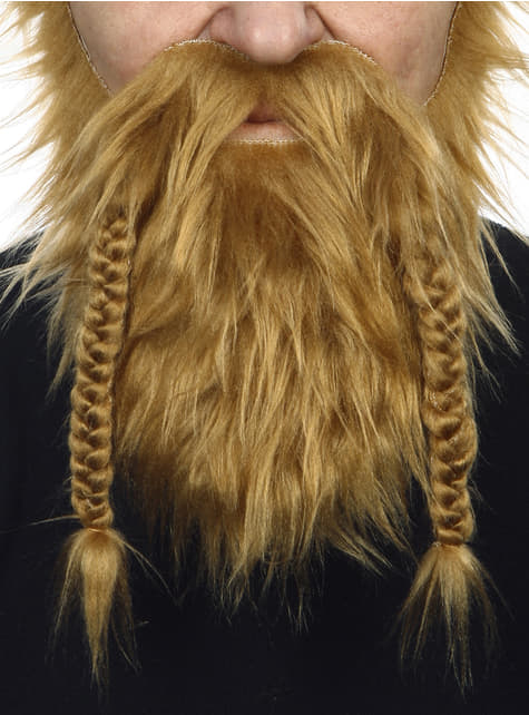 Barba y bigote pelirroja vikinga para adulto