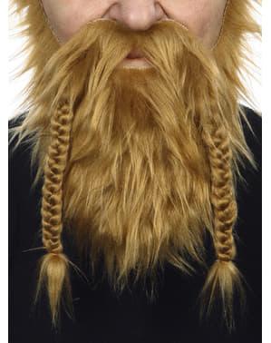 Skägg och mustasch Viking röd för vuxen
