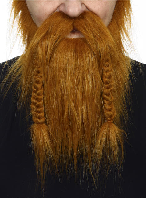 Barba y bigote castaña vikinga para adulto