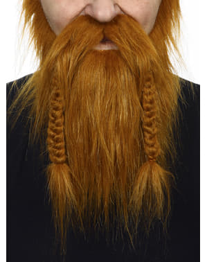 Barbă și mustață castanie vikingă pentru adult