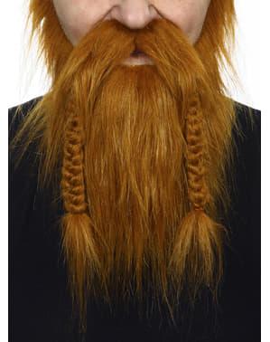 Barba e bigode castanhos viking para adulto