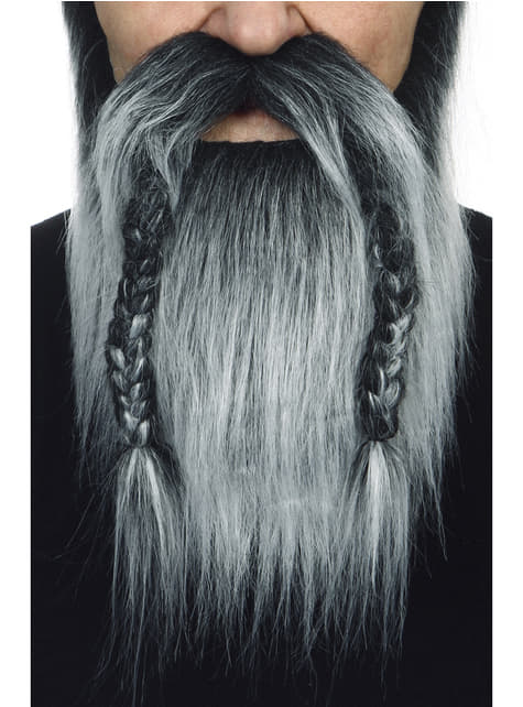 Baard en snor grijze kleur viking voor volwassenen