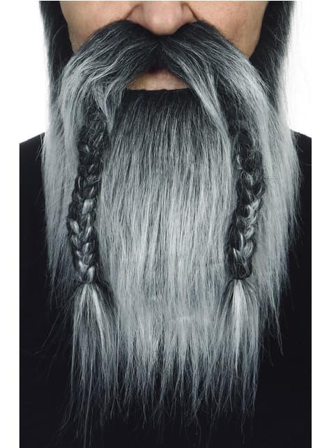 Barba e bigode cinzentos viking para adulto