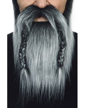 Barba y bigote gris vikinga para adulto