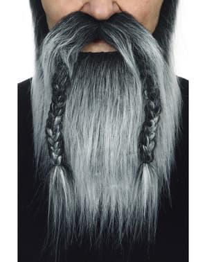 Wikinger Bart mit Schnurrbart grau für Erwachsene
