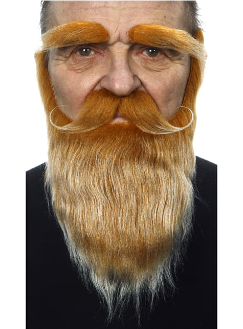 Adult's Red Beard, Moustache and Eyebrows