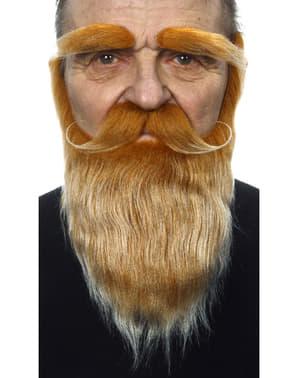 Bart, Schnurrbart und Augenbrauen rot für Erwachsene
