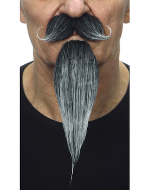 Bigote con perilla mosquetero canosa para hombre
