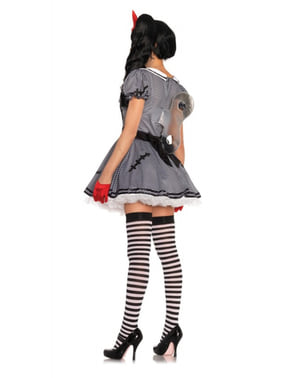 Fato de boneca de corda encantadora para mulher