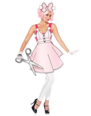 Disfraz de muñeca de papel adorable para mujer