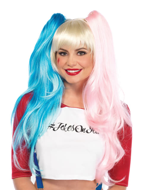 Czerwono-niebieska peruka psychopatka dla kobiet