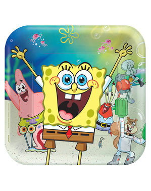 8 SpongeBob Square Plates (23x23 cm)