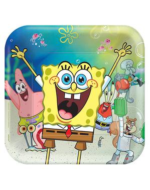 8 čtvercových talířů SpongeBob (23 x 23 cm)