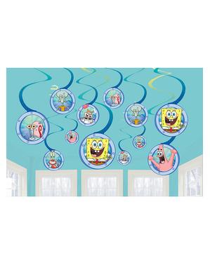 12 Wiszące Spirale Dekoracyjne SpongeBob