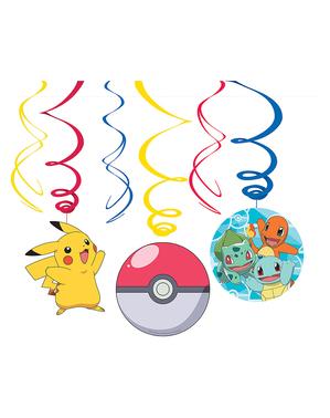 12 Wiszące Spirale Dekoracyjne Pokemon