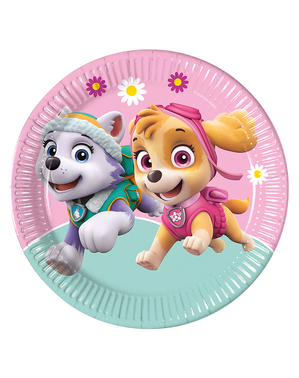 8 Paw Patrol Skye & Everest Pappteller (23cm)
