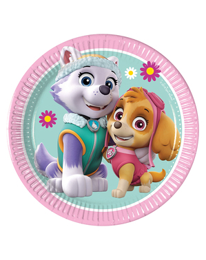 8 Paw Patrol Skye & Everest Pappteller (20cm)
