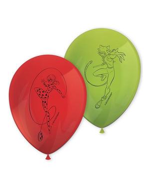 8 balões de Ladybug (27 cm) - Miraculous Ladybag