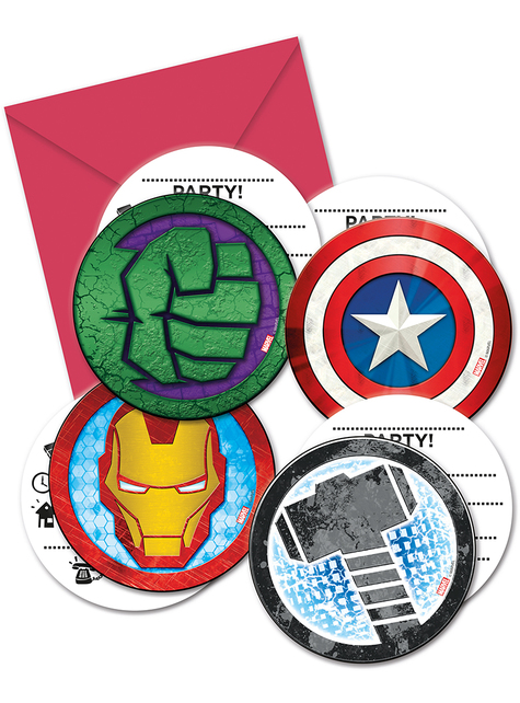 6 Avengers Invitations - Mighty Avengers