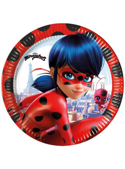 8 platos de Ladybug (20 cm) - Miraculous Ladybug