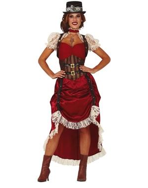 Steampunk Kostüm rot für Damen