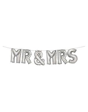 """""""Mr & Mrs"""" Sølv Ballon Guirlande"""