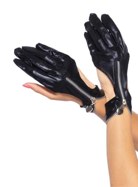 Biker handschoenen met rits voor vrouw