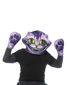 Máscara con guantes de Gato de Alicia para adulto