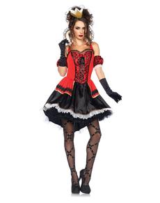 Disfraz de reina de corazones Deluxe para mujer