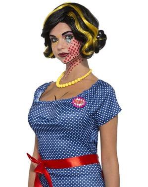 Peluca Pop Art morena con mechas rubias para mujer