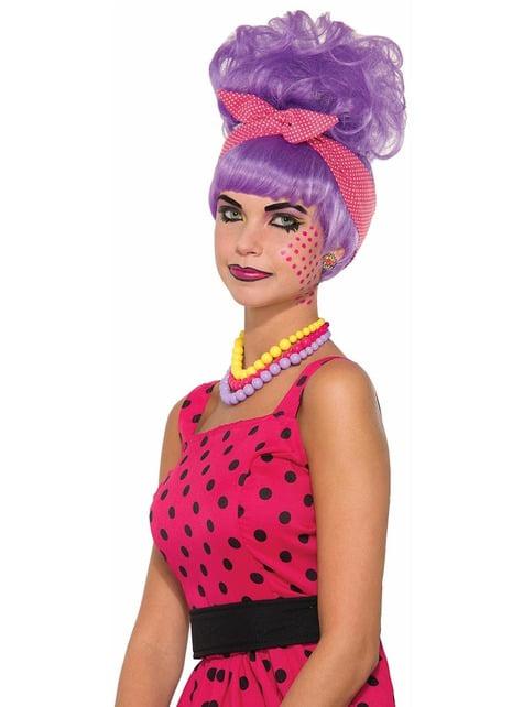 Pruik Pop Art in paars met knot voor vrouw